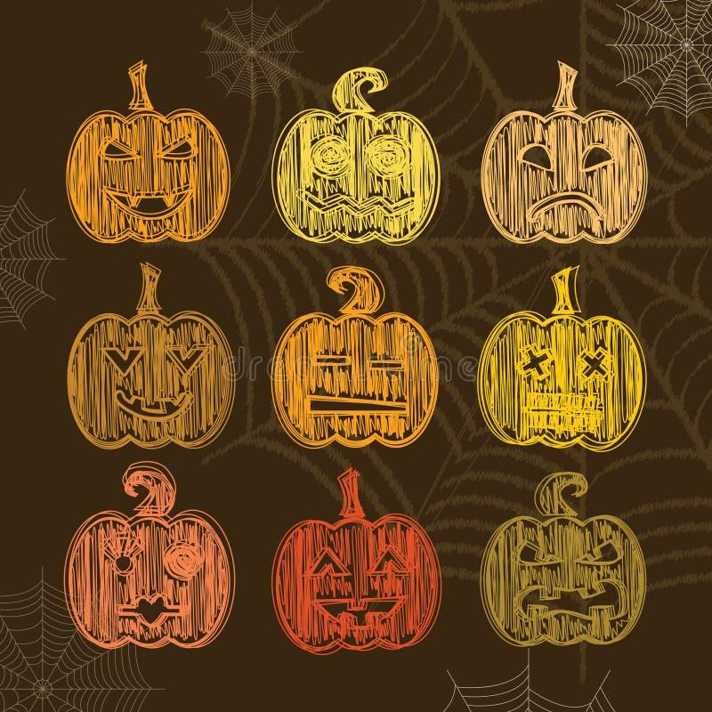 Set Halloweenowa bania z różnymi wyrażeniami Kredowy textu royalty ilustracja