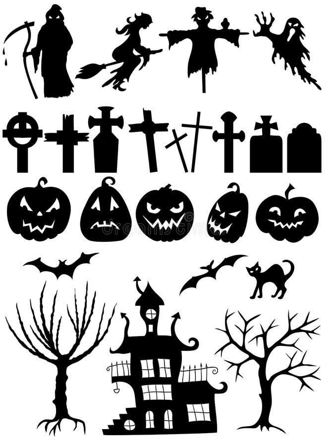 Set Halloweenowe sylwetki royalty ilustracja