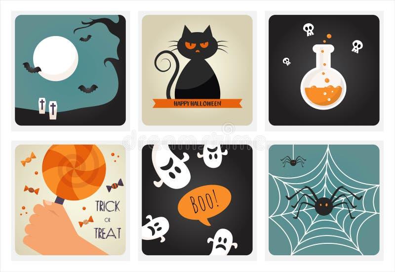 Set Halloweenowi pojęcia również zwrócić corel ilustracji wektora royalty ilustracja