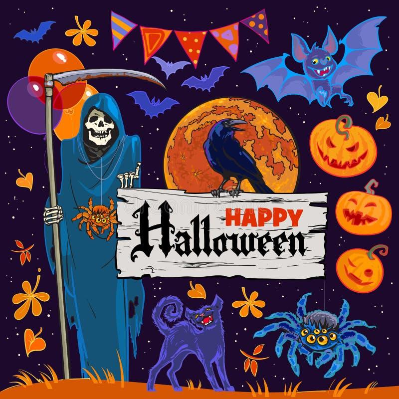 Set Halloweenowi postać z kreskówki i przedmioty na nocnego nieba tle wektor ilustracji
