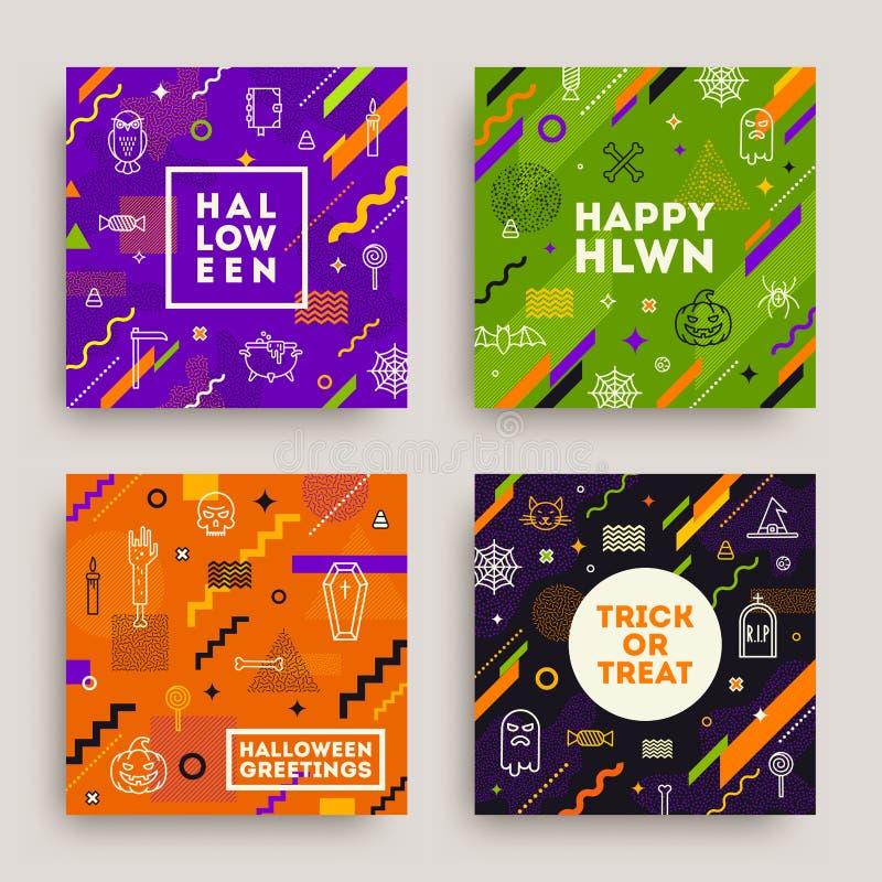 Set Halloweenowy plakat, sztandar lub kartka z pozdrowieniami, Kolekcja Halloween wzór ilustracji