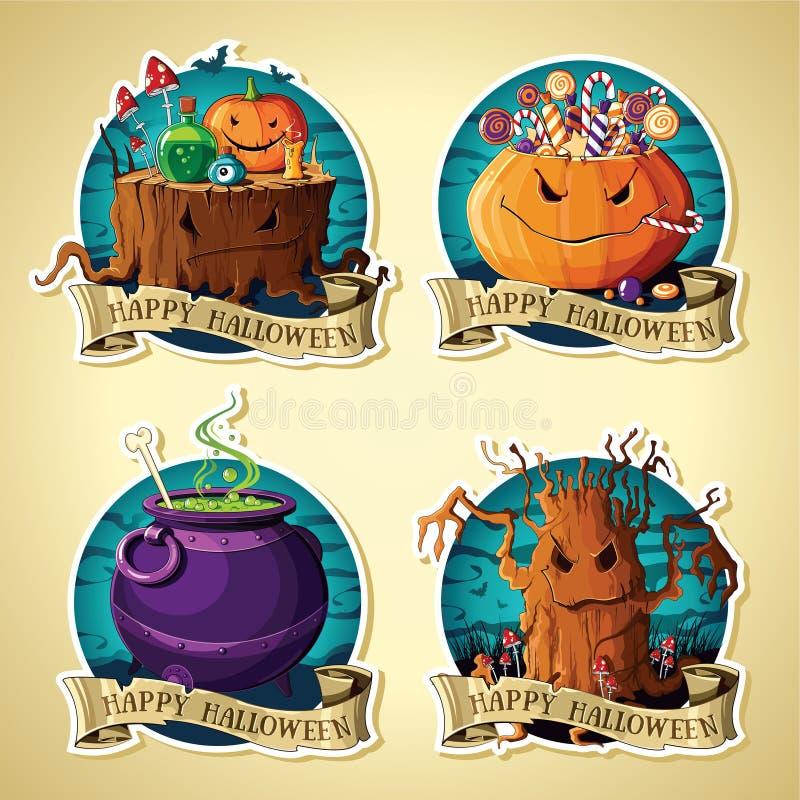 Set Halloweenowy rocznik przylepia etykietkę wektor z baniami, cukierki, drzewo, kocioł, fiszorek royalty ilustracja