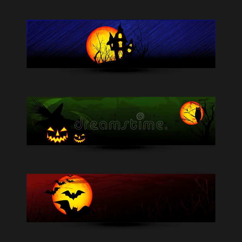 Set Halloweenowy Sztandaru lub Sieci Chodnikowiec royalty ilustracja