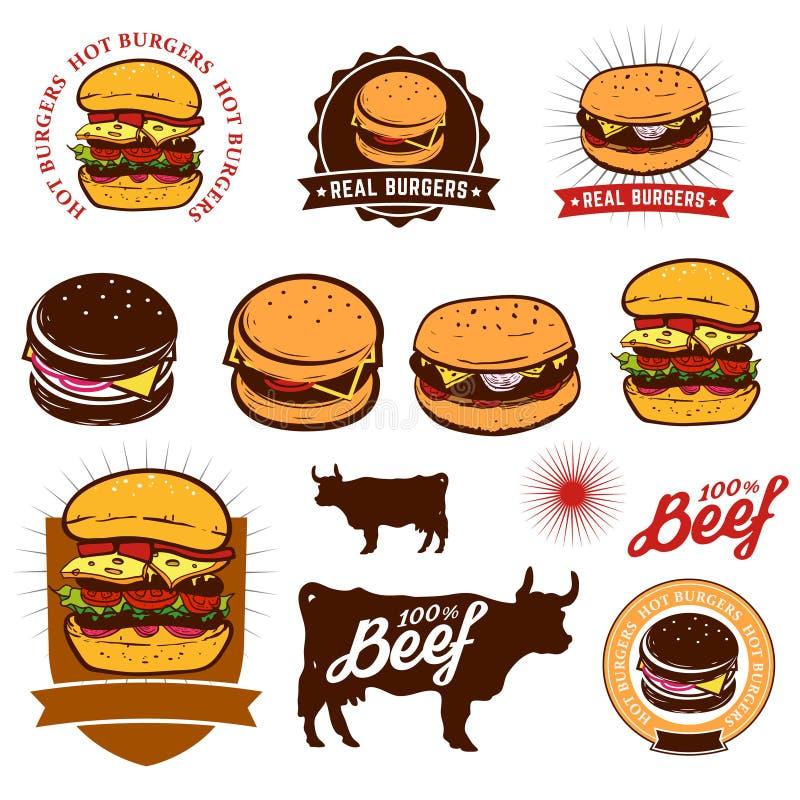 Set hamburger etykietki royalty ilustracja