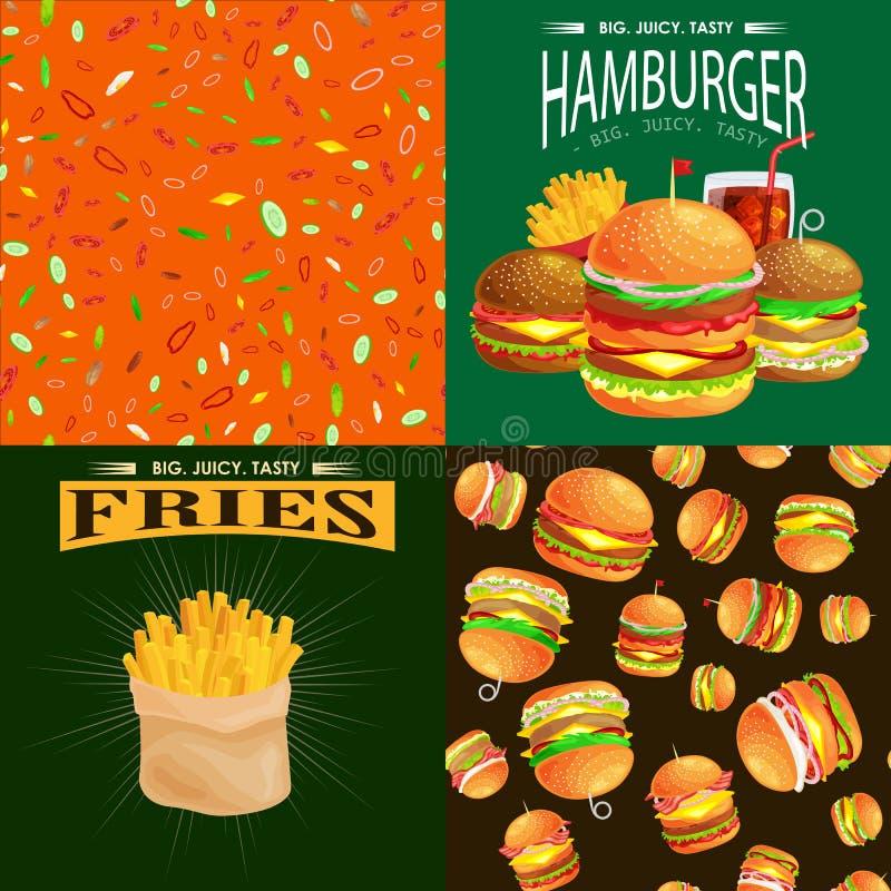 Set hamburger piec na grillu wołowinę i świezi warzywa ubierali z kumberland babeczki przekąski hamburgeru fastfood grilla ameryk ilustracji