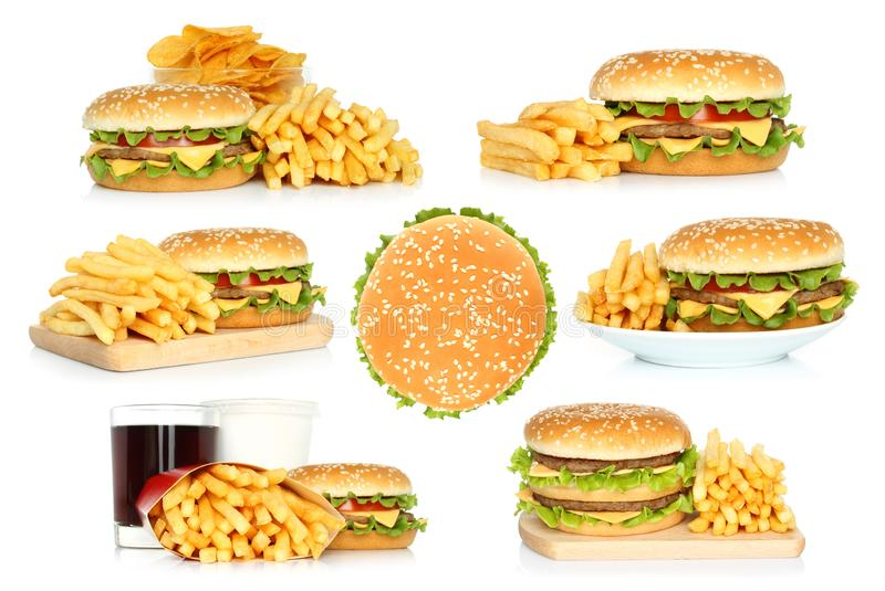 Set of hamburgers, french fries and chips with cola stock photo