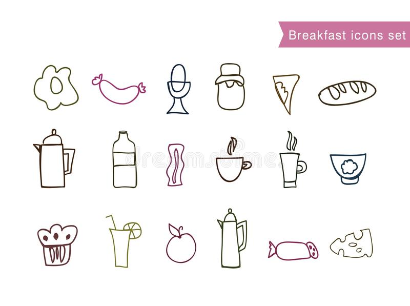 Vector Drawing Lines Game : Set of hand draw breakfast food clip art stock vector