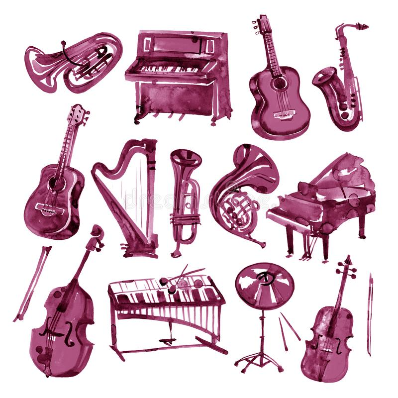 Set of hand draw Burgundy wine watercolor musical instruments stock illustration