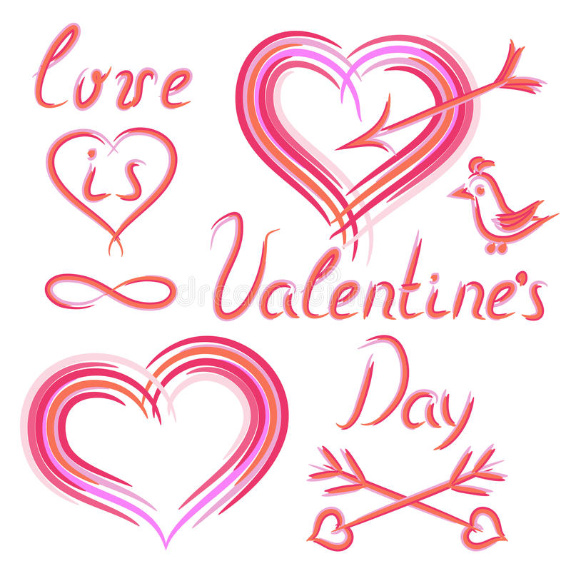 Set of hand draw elements on Valentine's Day stock images