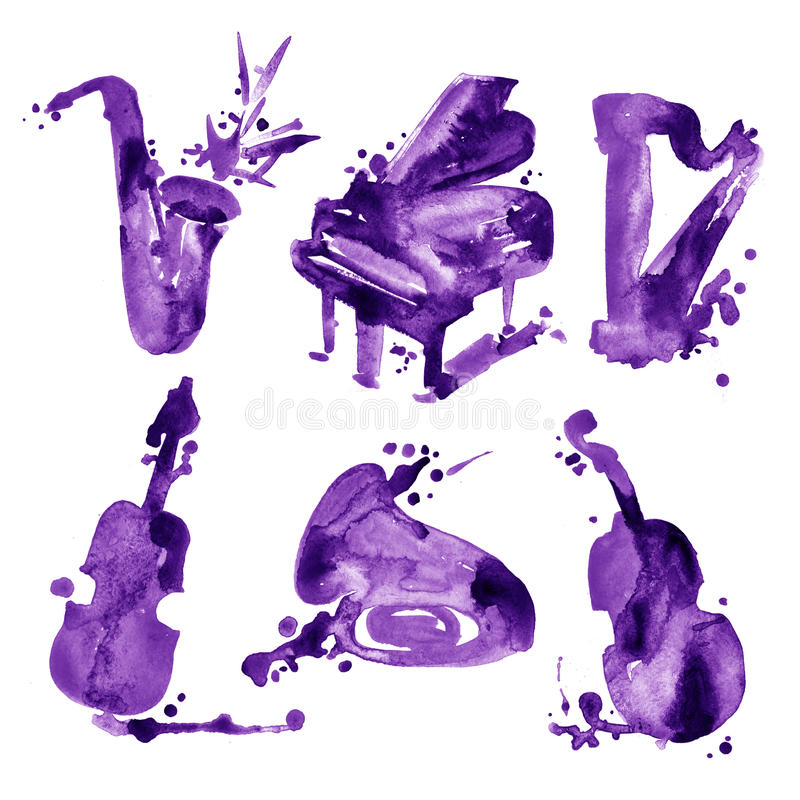 Set of hand draw watercolor violet musical instruments royalty free stock photos