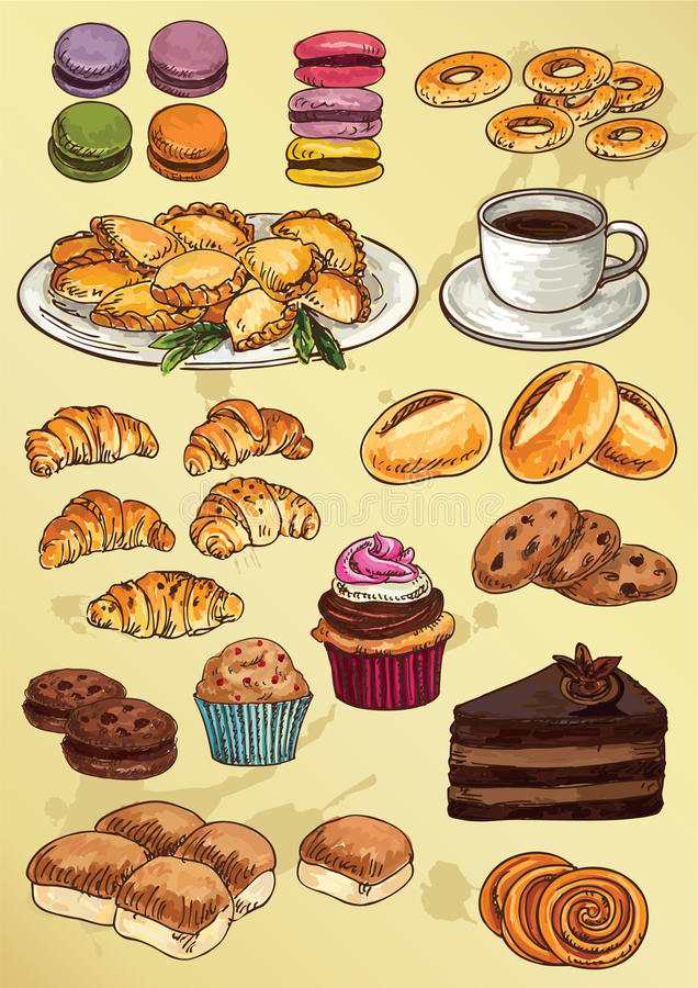 Set of hand drawing cakes and cookies royalty free illustration