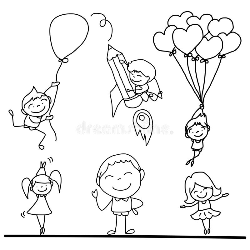 Set of hand drawing cartoon happy kids playing stock illustration