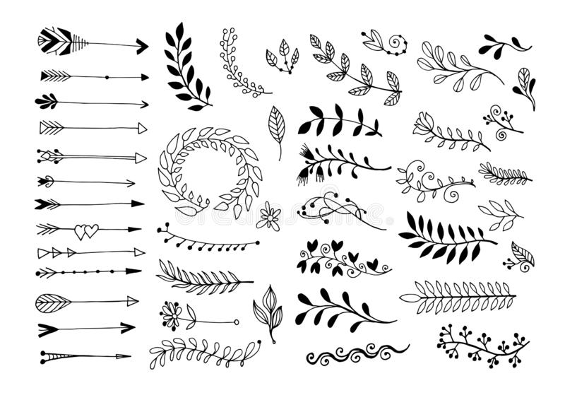 Set of hand drawing page dividers borders and arrow, doodle floral design elements. Vector illustration collection royalty free illustration