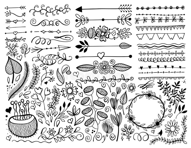 Set of hand drawing page dividers borders and arrow, doodle floral design elements. Vector illustration collection stock illustration