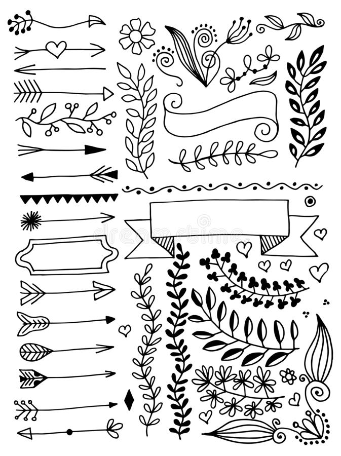 Set of hand drawing page dividers borders and arrow, doodle floral design elements. Vector illustration collection vector illustration