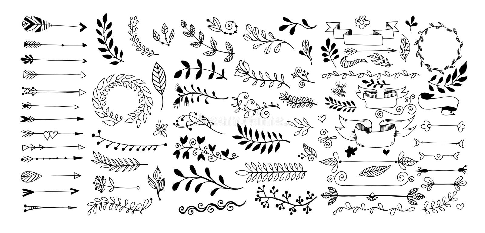 Set of hand drawing page dividers borders and arrow. Doodle floral design elements, vector illustration collection royalty free illustration