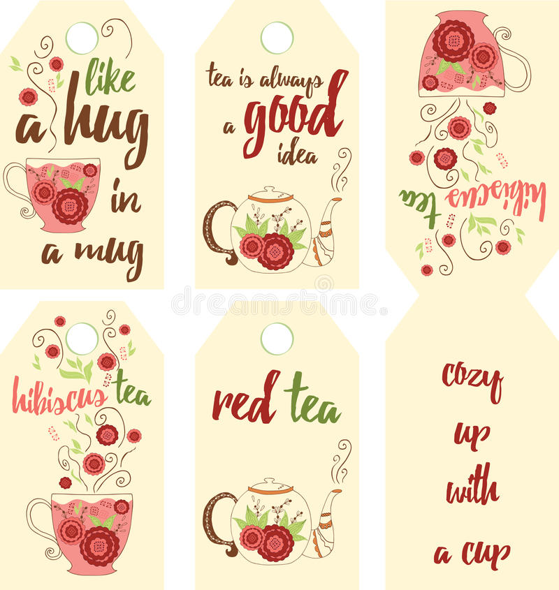 . Set of hand drawing red tea labels with hibiscus flavor. Tea bags tag with inspiration quote. Set of hand drawing red tea labels with hibiscus flavor. Sticker stock illustration