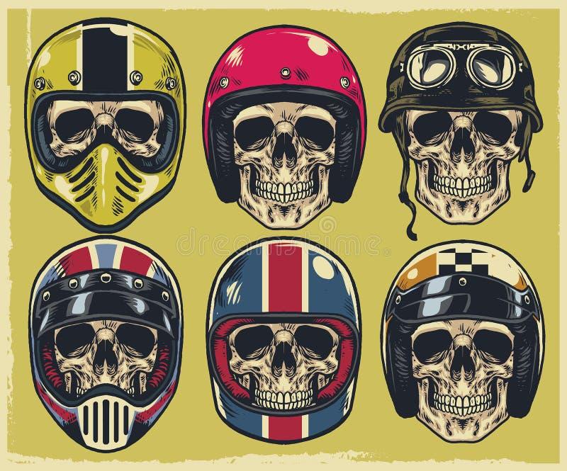 Set of hand drawing skulls wearing various of motorcycle helmet stock illustration