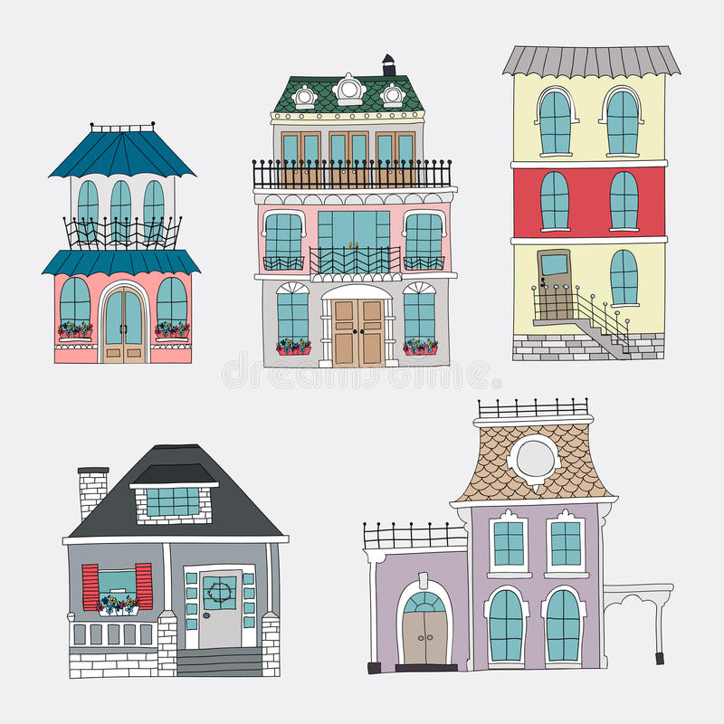Download Set Of Hand Drawing Vintage Houses Stock Vector