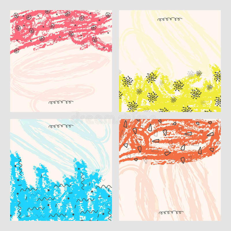 Set of hand drawn abstract background. Set of four hand drawn texture or background with colorful abstract pattern.Design for banner, poster, card, invitation royalty free illustration