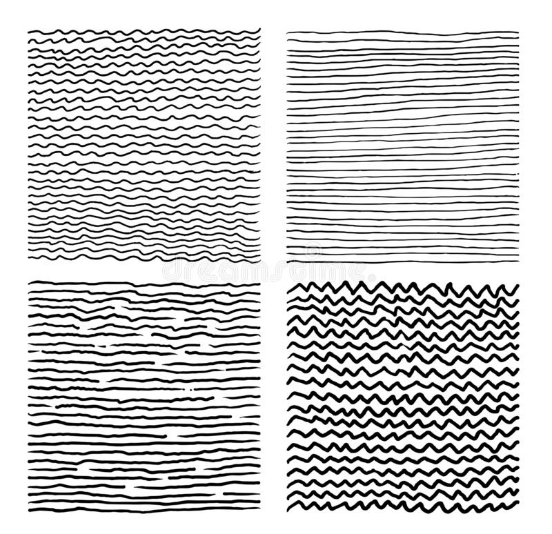Set of Hand drawn abstract pattern with hand drawn lines, strokes. Grunge brushes, wavy stripes. Grid black and white texture. Vector ink grunge brush royalty free illustration