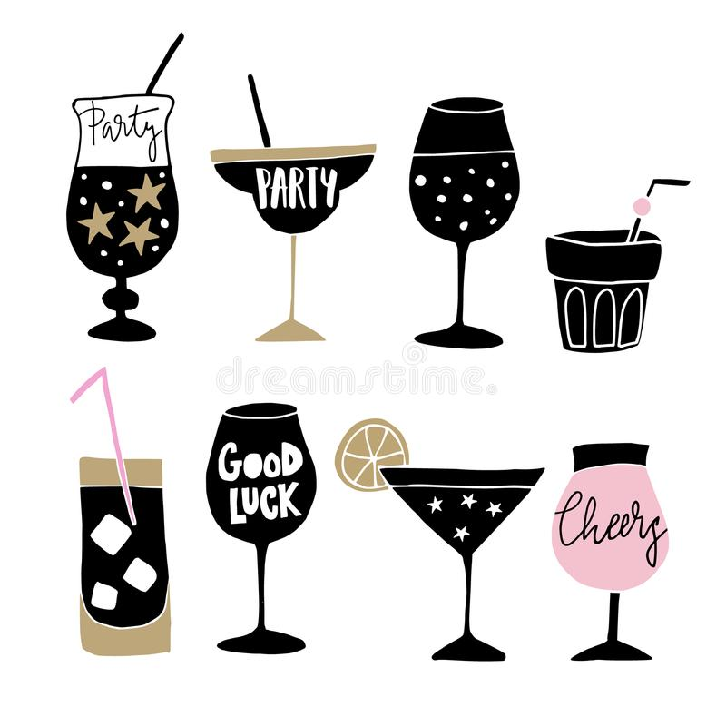 Set of hand drawn alcoholic drinks, cocktails with lettering quotes. Happy New Year celebration concept. Isolated vector. Set of hand drawn alcoholic drinks stock illustration