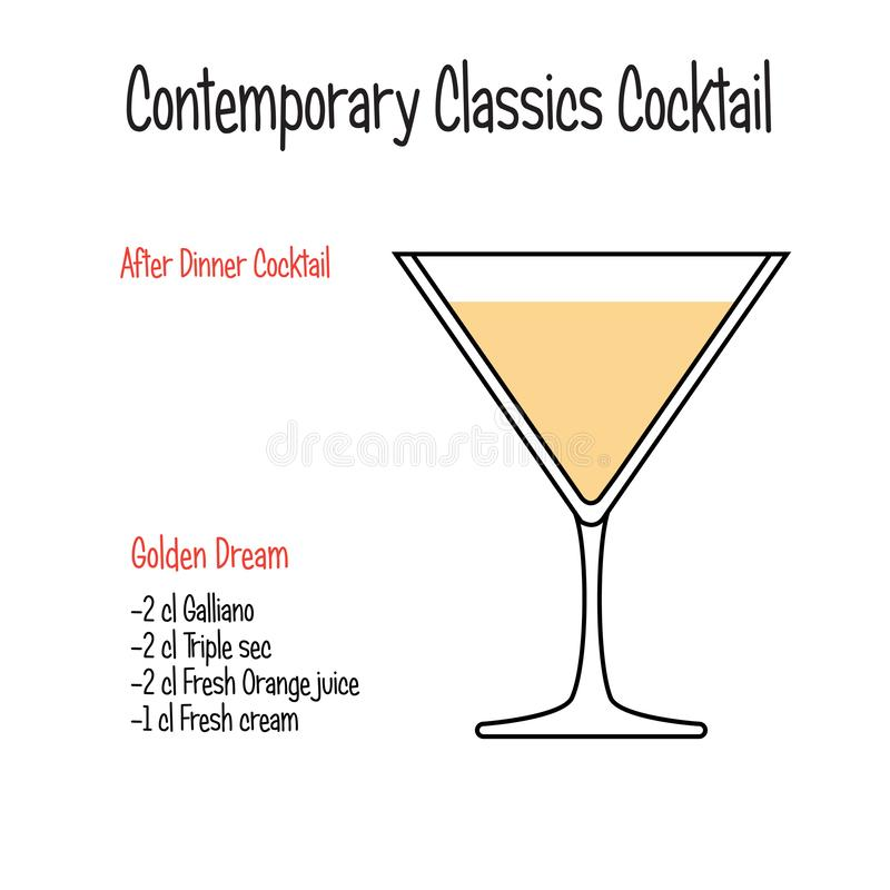Golden dream alcoholic cocktail vector illustration recipe isolated. Set of hand drawn alcoholic drinks, Golden dream alcoholic cocktail vector illustration vector illustration