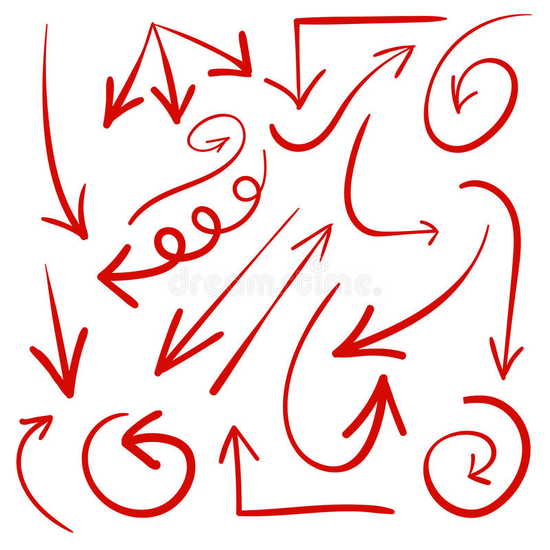 Set of hand drawn arrows. VECTOR. Red arrows stock illustration