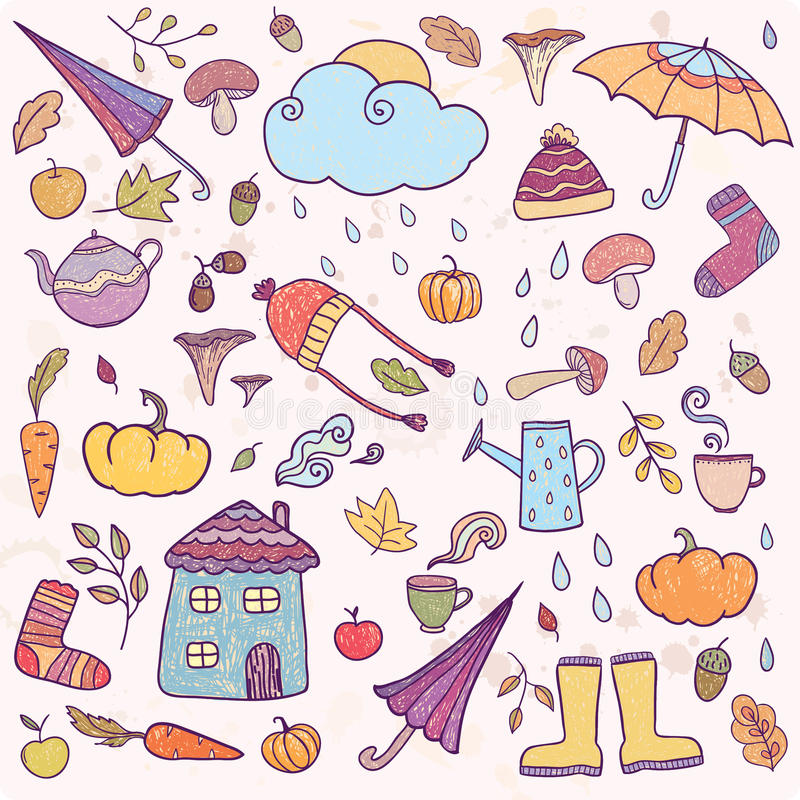 Set of hand drawn autumn icons. stock illustration