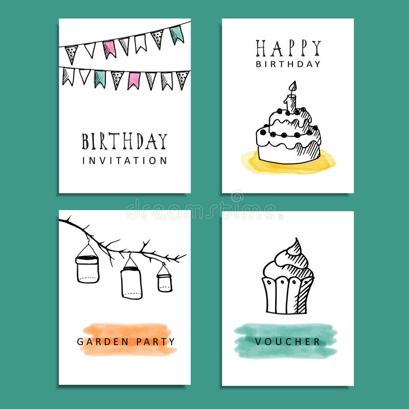 Set of hand drawn birthday party cards invitations stock vector download set of hand drawn birthday party cards invitations stock vector illustration of candy filmwisefo Image collections