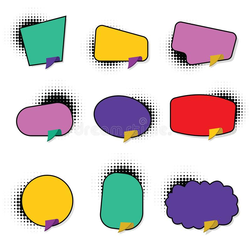 Set hand drawn blank template speech bubbles stock illustration