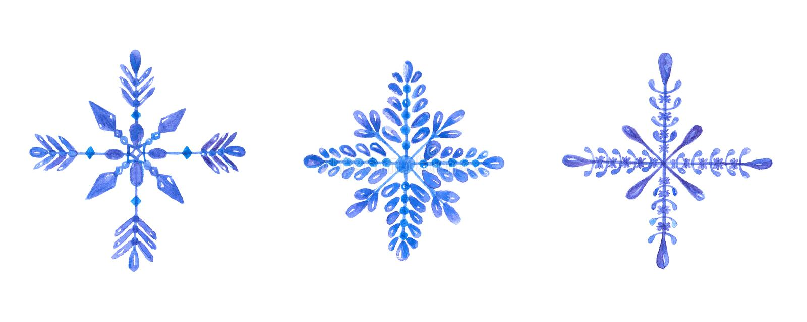 Set of hand-drawn blue watercolor snowflakes isolated on white background. Can be used as a Christmas card vector illustration