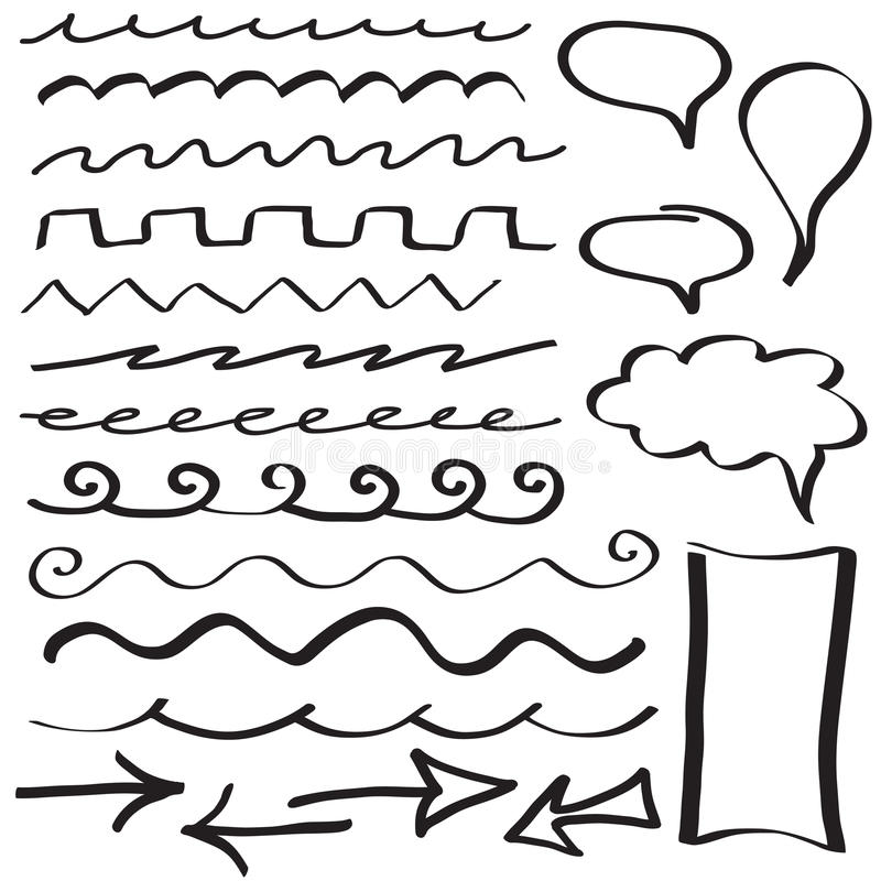 Set of hand drawn border lines. And frames royalty free illustration