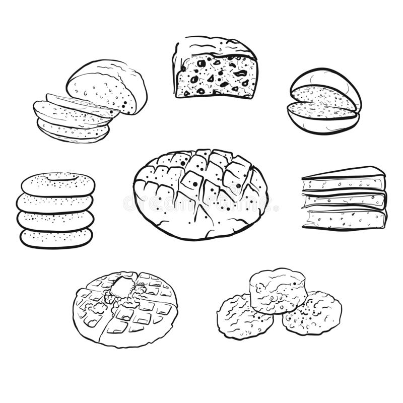 Set of hand drawn bread icons vector illustration