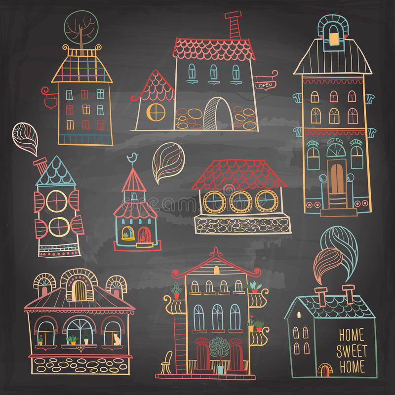 Set of hand drawn buildings in vintage style on dark background. vector illustration