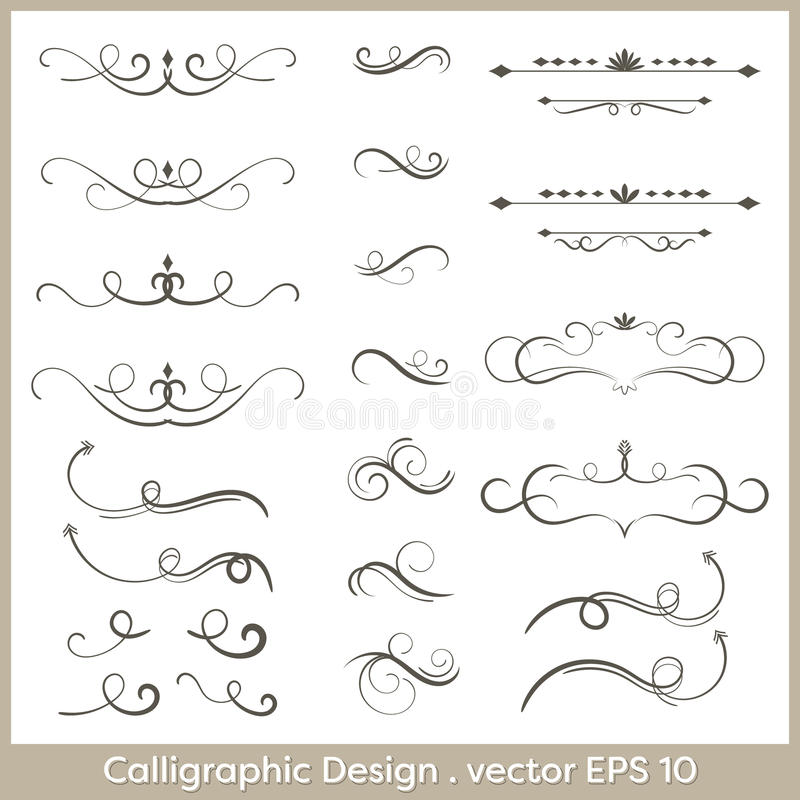 Set of hand drawn calligraphic and decorative design elements, deashes and dividers. vector illustration