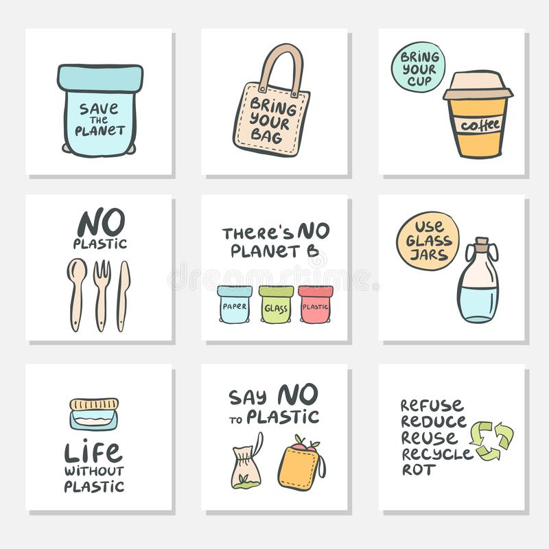 Set of hand drawn cards with zero waste life and lettering slogan. Eco style. No plastic. Vector illustration vector illustration