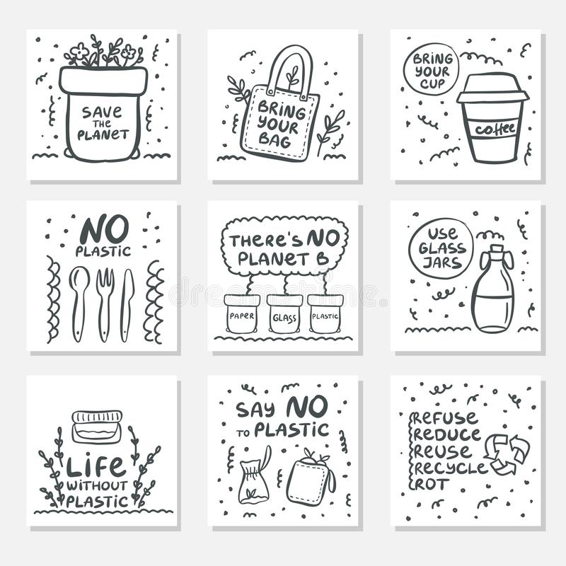 Set of hand drawn cards with zero waste life and lettering slogan. Eco style. No plastic. Vector illustration royalty free illustration