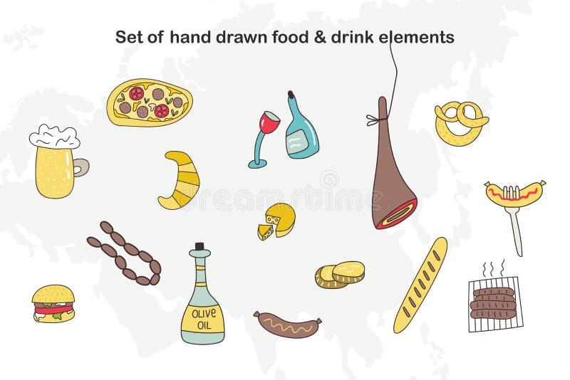 Set of hand drawn cartoon food and drink elements. Vector illustration vector illustration