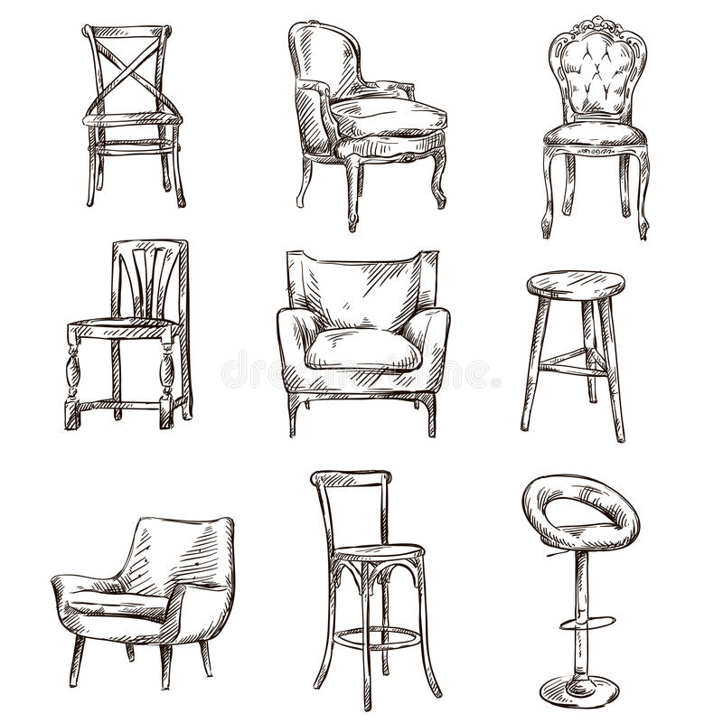 Set of hand drawn chairs stock vector illustration of for Couch zeichnen
