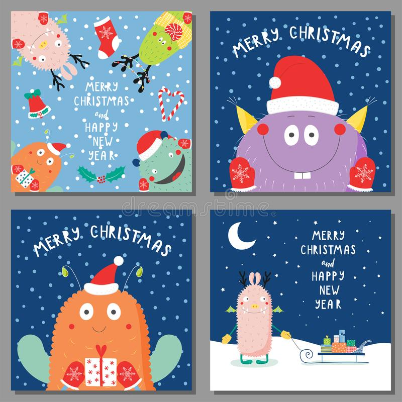 Christmas Cards With Cute Funny Monsters Stock Vector - Illustration ...