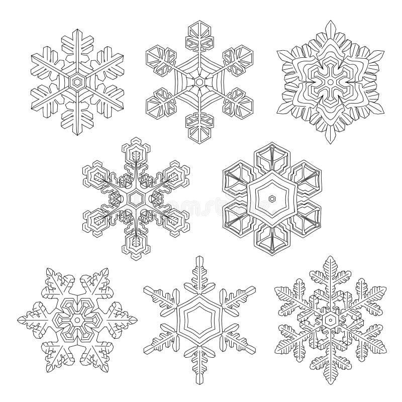 Hand drawn 5 snowflakes on the white stock photos