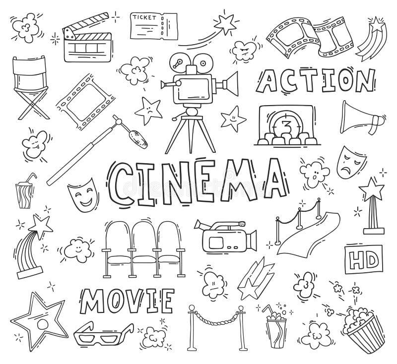 Set of hand drawn cinema icons stock illustration