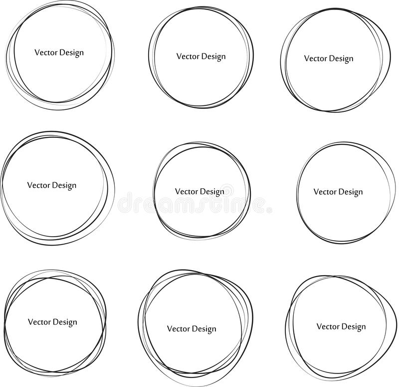 Set of Hand drawn circle frames. Abstract Grunge doodle frames isolated on white background. Abstract Frame . royalty free stock images