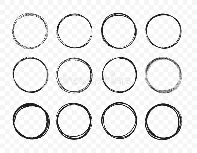 Set hand drawn circle line sketch set. Circular scribble doodle round circles for message note mark design element stock images