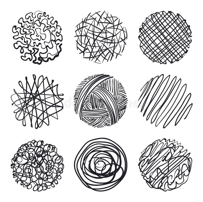 Set of hand-drawn circles, elements for desicn, vector stock illustration