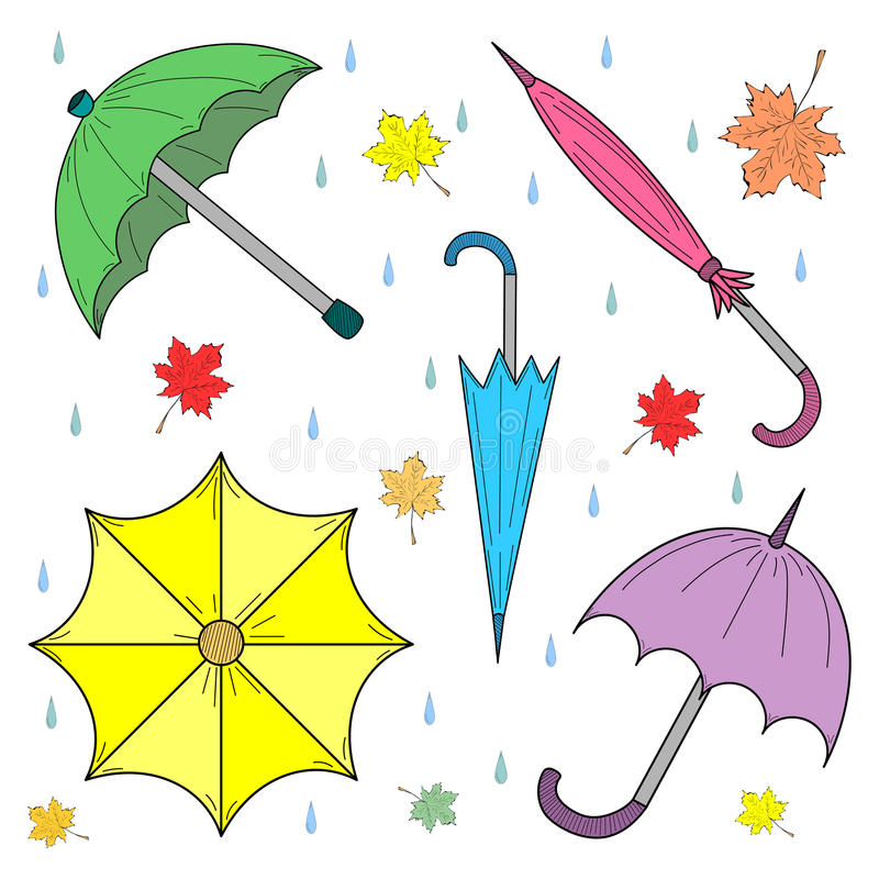 Set of Hand Drawn Colorful Autumn Umbrellas, Leaves and Drops. Perfect for Print. Vector illustration vector illustration