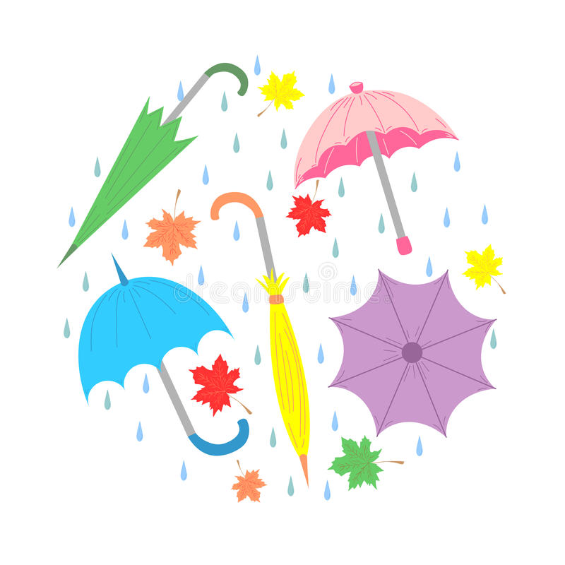 Set of Hand Drawn Colorful Umbrellas, Maple Leaves and Drops Arranged in a Circle. Perfect for Print. Flat Style. Vector Illustration stock illustration