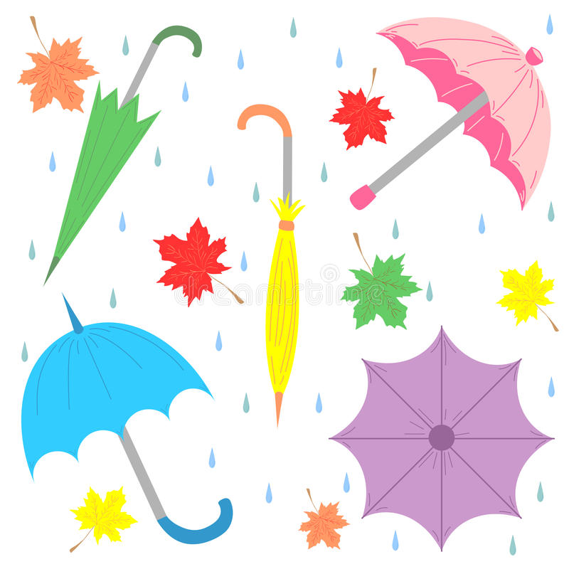 Set of Hand Drawn Colorful Umbrellas, Maple Leaves and Drops. Perfect for Print. Flat Umbrellas. Vector Illustration stock illustration