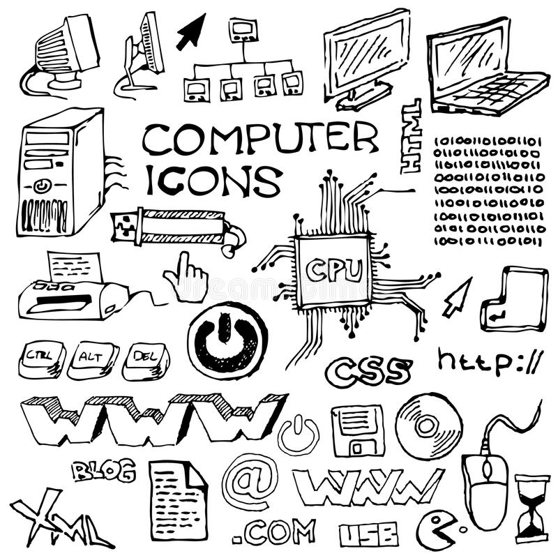 Set of hand-drawn computer icons. (vector